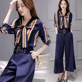 女套裝蝴蝶結條紋襯衫高腰闊腿九分褲時尚兩件套