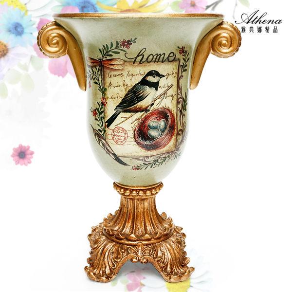 【雅典娜家飾】復古藍鵲陶瓷高腳花器-EH08