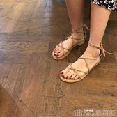 夏季韓版軟妹綁帶涼鞋女學生百搭仙女風平底羅馬鞋潮歌莉婭