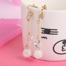 【NiNi Me】夾式耳環 閃亮冰雪圓球流蘇水鑽長款夾式耳環 夾式耳環 E0055