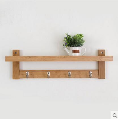 唯妮美牆上置物架簡約客廳創意掛鉤儲物架實木臥室壁掛隔板機上盒 四鉤