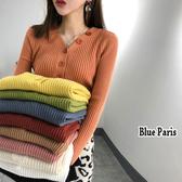 藍色巴黎 ★  時尚chic風V領排釦修身長袖針織上衣 針織衫 毛衣《10色》【28809】