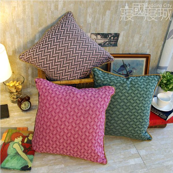 抱枕靠枕 - 大上海風金框3色 [A級空心棉] 高級飯店用 寢居樂台灣製