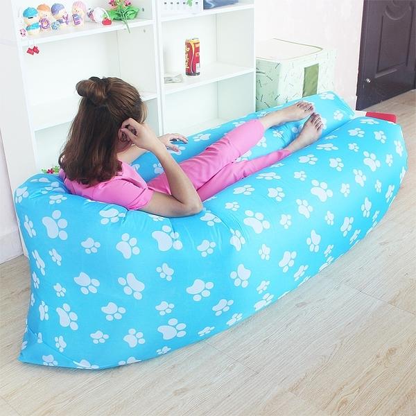 【風雅小舖】二代改良新款 腳丫圖案 充氣沙發 便攜式睡袋 可折疊式空氣沙發床 外銷款懶人沙發