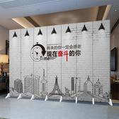 現代簡約屏風隔斷牆客廳酒店辦公室歐式摺疊實木行動雙面防水摺屏