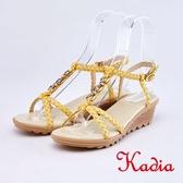 kadia.編織交叉牛皮涼鞋(9118-20黃色)