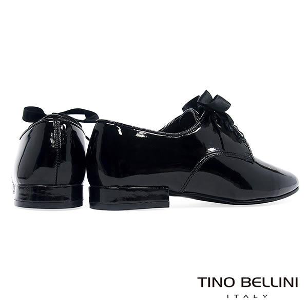 Tino Bellini 簡約風尚品味漆皮緞帶皮鞋 _ 黑 FS8501