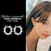 【免運到手價$98】韓國簡約時尚大方耳飾微鑲人工锆石花朵耳釘女鑲鑽蝴蝶結耳環