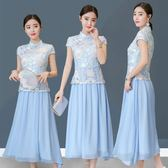 2018夏裝新款改良旗袍中長裙中國風假兩件刺繡蕾絲連衣裙 st2282『伊人雅舍』