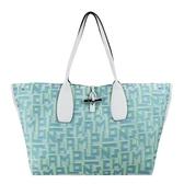 【南紡購物中心】LONGCHAMP ROSEAU系列竹節LGP滿版刺繡帆布托特包(特大/藍)