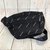 BRAND楓月 BALENCIAGA 巴黎世家 482389 黑色 尼龍材質 滿版 LOGO 腰包 胸口包