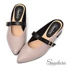 穆勒鞋 法式尖頭皮帶釦粗跟拖鞋-芋