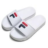 FILA (偏小建議大半號) 荔枝皮 白 大LOGO 拖鞋 (布魯克林) 4S316S123