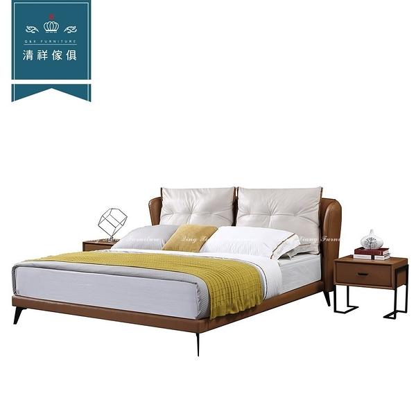 【新竹清祥傢俱】PBB-11BB10-現代設計牛皮雙色床台(六尺) 現代 摩登 可訂製 L型 牛皮 飯店 皮床