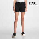 KARL LAGERFELD KARL側排大寫LOGO運動短褲-黑