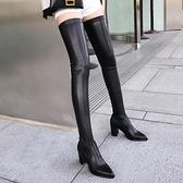 長靴女新款長筒靴女過膝高跟顯瘦腿尖頭軟皮面超長大腿細跟長靴 夢幻小鎮