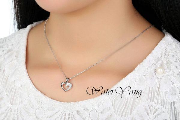 WaterYang. 925純銀項飾 心形鑲嵌吊墜+項鍊