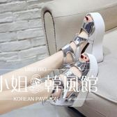 坡跟鞋魚嘴鞋女2018新款夏季坡跟厚底內增高女鞋11cm超高跟鏤空羅馬涼鞋-大小姐韓風館