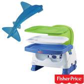 【奇買親子購物網】費雪牌 Fisher-Price寶寶小餐椅+幼兒學習軟性鯊魚牙刷0-1Y(可當固齒器使用)