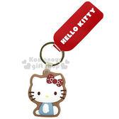 〔小禮堂〕Hello Kitty 翻糖餅乾造型鑰匙圈《藍.點點.側坐》吊飾.掛飾 4548643-12035