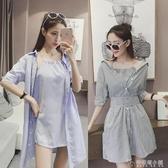夏季新款女裝韓版條紋襯衫小清新洋裝女時尚假兩件套裝裙子 「安妮塔小鋪」