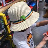 兒童帽男童太陽帽男童草帽親子遮陽帽母子夏寶寶大檐沙灘帽太陽帽『CR水晶鞋坊』