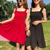 EASON SHOP(GU6831)小清新荷葉邊胸口抓縐吊帶背心抹胸平口連身裙露肩露背洋裝木耳花邊大裙襬中長款
