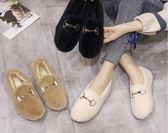 豆豆鞋網紅毛毛鞋女冬外穿平底懶人一腳蹬新款黑色時尚加絨棉豆豆鞋 可然精品