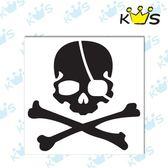 【浮雕貼紙】海盜骷髏 # 壁貼 防水貼紙 汽機車貼紙 8.9cm x 8.7cm