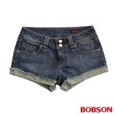 BOBSON 女款超低腰雙色線牛仔短褲(216-53)