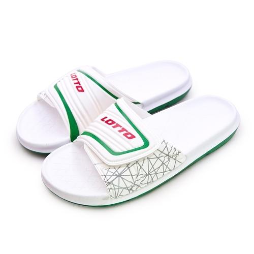 LIKA夢 LOTTO 足球風運動拖鞋 FOOTBALL STYLE系列 白綠 8009 男/女