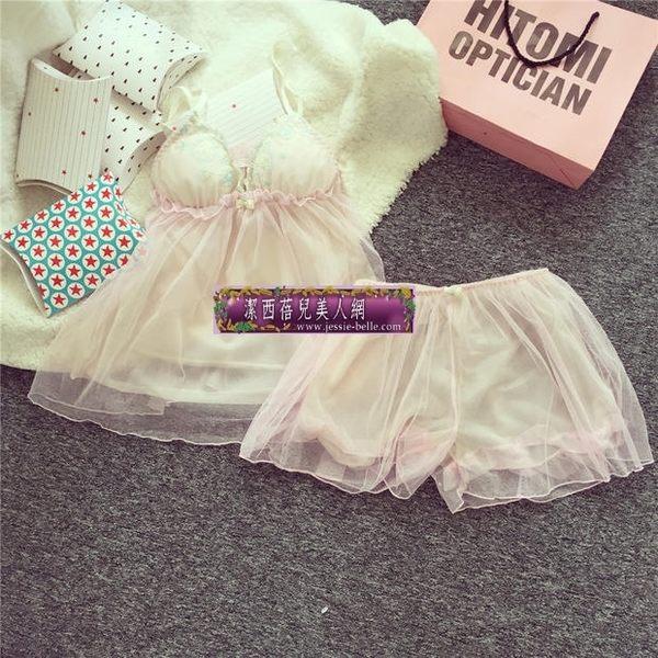 夏季吊帶蕾絲性感條紋家居服 日系花邊甜美睡衣套裝女 帶胸墊 -11190051