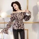 限時特價 年新款韓版時尚性感一字肩褶皺收腰顯瘦豹紋泡泡袖襯衫上衣女
