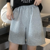cec褲子黑色五分褲bf女寬鬆闊腿休閒運動鬆緊腰韓國純棉短褲ins潮 韓國時尚週