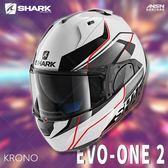 [中壢安信]法國SHARK EVO-ONE 2 彩繪 KRONO 白黑紅 可樂帽 全罩 可掀式 安全帽 內墨片