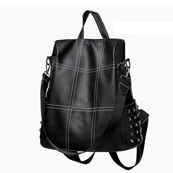 女包包 防盜軟皮鉚釘兩用包 可當後背包及側背包  編號6948 線繡  禮物