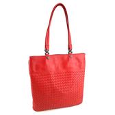 【奢華時尚】秒殺推薦!BOTTEGA VENETA 紅色編織羊皮肩背扁藝術包(八五成新)#23761