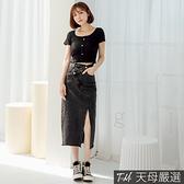 【天母嚴選】個性側開衩不對稱斜扣水洗牛仔裙 S-XL