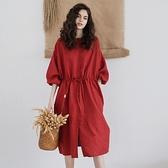 亞麻洋裝-五分袖圓領中長款寬鬆單排扣女連身裙74ba2【巴黎精品】