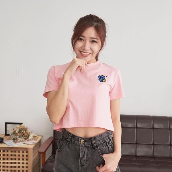 韓國女裝 Q版芝麻街人物刺繡短版短袖T恤 C1073 正韓直送 韓妞必備 百搭顯瘦基本款 阿華有事嗎