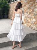 泰國海南三亞海邊度假吊帶連身裙顯瘦仙女純色鬆緊腰蛋糕裙沙灘裙