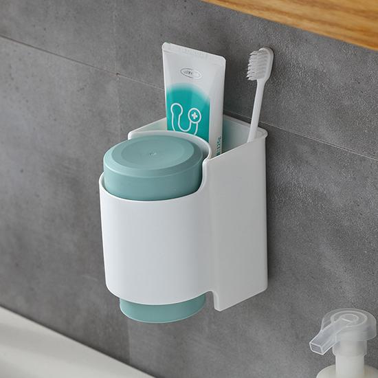 洗漱架 牙刷架 免釘 洗漱套裝 牙膏架 北歐風 瀝水架 情侶杯 無痕貼 雙杯洗漱套裝【N219】慢思行