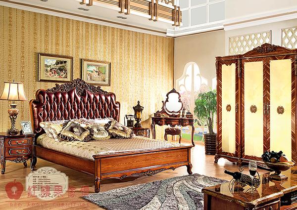 [紅蘋果傢俱] HT-804 新古典 實木雕花 歐式床 五尺/六尺 雙人 床架 床台 工廠直營
