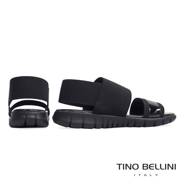Tino Bellini 義大利進口時髦運動休閒繃帶平底涼鞋(黑)_B63015  2016SS歐洲進口款