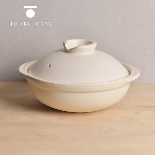 【日本TOJIKI TONYA】萬古燒燉煮土鍋2.4L(4-6人)-白