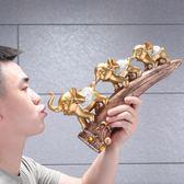 虧本促銷-招財擺件創意招財大象家居飾品擺件歐式客廳博古架酒櫃玄關軟裝小象工藝品