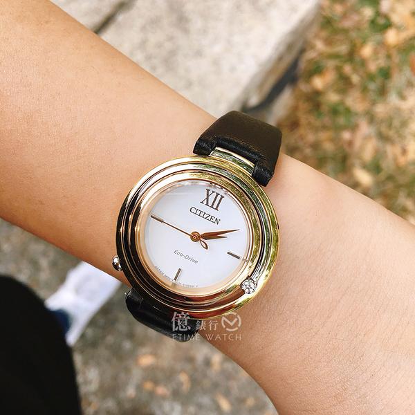 CITIZEN日本星辰田馥甄代言ECO-Drive L系列閃耀時刻真鑽光動能簡約腕錶EM0656-15A原廠公司貨