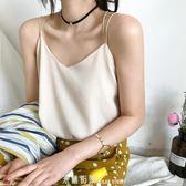 寬松雪紡吊帶背心女夏季新款V領外穿短款性感內搭打底雙層上衣 「米蘭街頭」