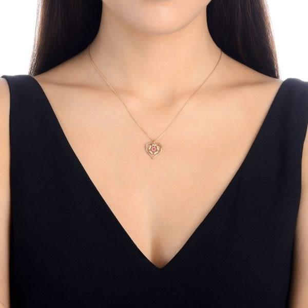 點睛品 V&A bless系列 18KR 玫瑰金粉紅色藍寶鑽石項鍊