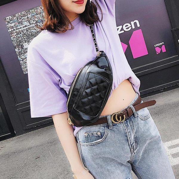 上新腰包女夏季新款潮韓版個性時尚菱格胸包錬條百搭側背包  卡布奇諾